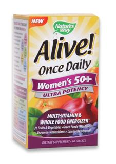 New Alive! Once Daily for Women 50+.  The most nutritionally diverse once daily formula..