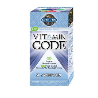 Vitamin Code 50 & Wiser Mens Formula is a comprehensive multi-vitamin with RAW Food-Created Nutrients offering an extreme synergistic blend of vitamins and minerals for extraordinary health and vitality.  Providing select nutrients to support the primary areas of prostate health with added vitamin E, lycopene, selenium and zinc, memory and concentration with vitamin B complex, vitamins C, D and E, and optimal digestion with live probiotics, enzymes and vitamin D..