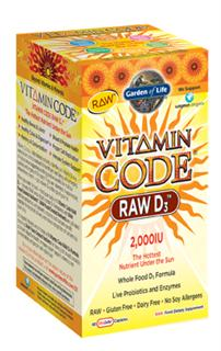 In following with the Vitamin Code philosophy, RAW Vitamin D3 is a whole food vitamin D complex that is gluten and dairy-free with no soy allergens, binders or fillers, and contains live probiotics and enzymes..