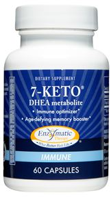 Enzymatic Therapy 7-Keto enhances the immune system and memory through an improved form of DHEA..
