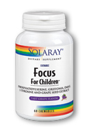 Solaray Focus for Children & Kids (60 Tabs) is a specially designed brain support product for children.