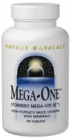 Mega-One is a potent one-tablet-a-day multi-vitamin..