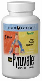 Pyruvate powder may reduce body fat, increase lean body mass and enhance body composition when used with the Maximum Metabolism Weight Loss Plan(TM). Pyruvate plays an important role in metabolism and the energy-production process. It is the link between two of the main energy-generating cycles in the body, glycolysis (anaerobic metabolism) and the Krebs cycle (aerobic metabolism). Pyruvate is also found in small quantities in foods. Source Naturals <b>Diet Pyruvate(TM)</b> is manufactured using a unique process that ensures the product's stability and high purity. Extensive research indicates that pyruvate may play an important role in a healthy diet and exercise program..
