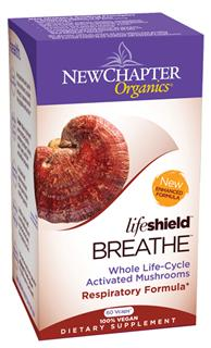 To promote normal lung respiration and function, New Chapter's Lifeshield Breathe is formulated with select species of tonic mushrooms, including organic Cordyceps..