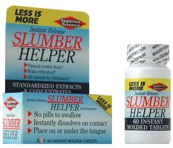 All natural herbal formula Slumber Helper for better sleep. A proven combination of herbs which will help you get a full night of sleep, without drugs..