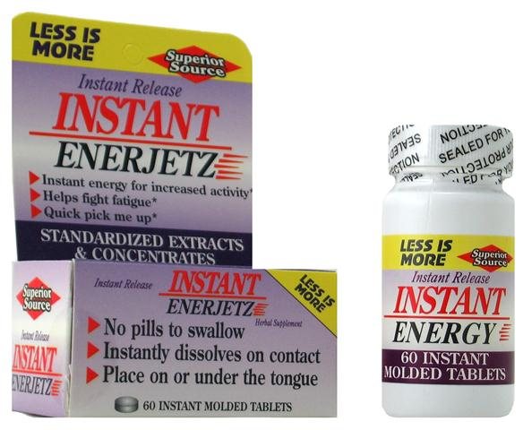 Superior Sources Instant Enerjetz  quickly delivers a burst of natural energy from a proprietary herbal  blend which includes Kola Nut and Guarana..