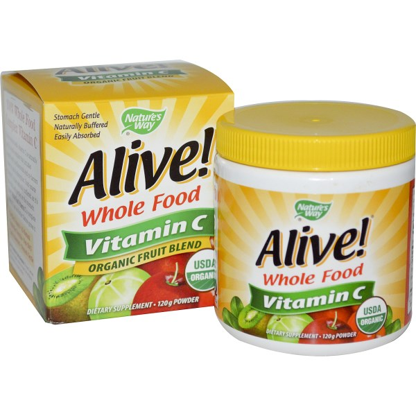 Alive! Whole Food Complex Vitamin C from Nature's Way is made with 100% USDA Organic Fruit!.