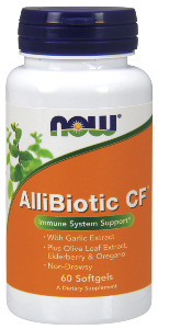 With Olive Leaf Extract, Elderberry & Oregano  Non-Drowsy NOW Allibiotic CF is scientifically designed to help support healthy seasonal and year-round immune function..