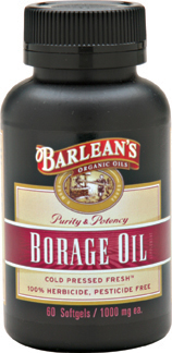 Barlean Borage Oil. Cold Pressed Fresh. Natures most abundant source of Gamma-Linolenic Acid (GLA)..