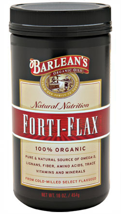 Barlean's Forti-Flax a rich source of Omega-3, dietary fiber, protein, mucilage and phenolic compounds, vitamins, major and trace minerals and amino acids. Freshly cold-milled, 100% certified organic, Kosher certified, pesticide and herbicide free, select flax seeds from North America..