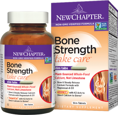 New Chapter's Bone Strength formula provides complete bone support with calcium that actually reverses bone loss and helps reduce the risk of osteoporosis. Easy to swallow slim tabs..