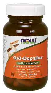 NOW® Gr-8 Dophilus™ delivers its microflora directly to the intestine bypassing the harsh acidic conditions of the stomach..