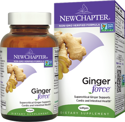 Ginger Force is a full spectrum ginger root extract by New Chapter supporting cardiovascular and digestive health..