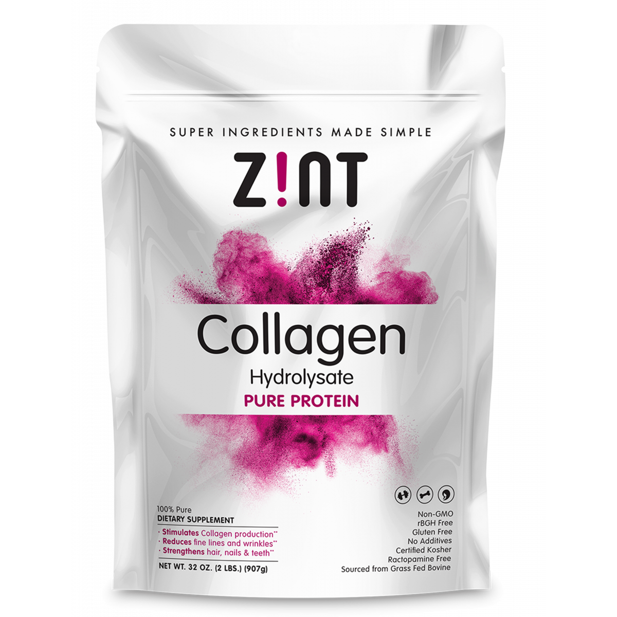 Grass-Fed Beef Collagen Hydrolyzed for optimal absorption. Collagen benefits the foundation of bulding blocks enhancing skin, hair, connective tissue and joint health..