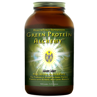 Green Protein Alchemy  combines two protein-rich algae, Chlorella and Spirulina, with vegetable enzymes and probiotics.  Dr. Sheridan, founder of HealthForce, makes Green Sage Protein his first choice daily before and after exercise..