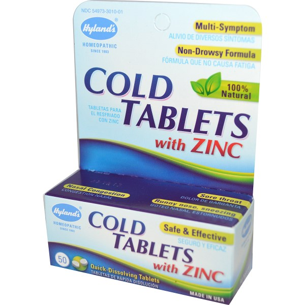 Hyland's Homeopathic Cold Tablets with Zinc dissolve quickly and work in your bloodstream for quick cold symptom relief..