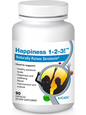 Happiness 1-2-3 (90 caps) helps raise serotonin levels naturally, providing the feeling of well being and happiness..