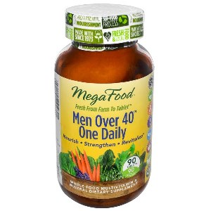 MegaFood One Daily Multivitamin for Men Over Forty is formulated using whole foods for optimal well being. Made fresh from farm to tablet..