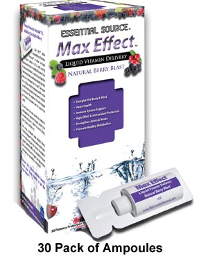Max Effect provides energy, heart health support, immune system support, joint and bone support, promotes a healthy metabolism, provides anti-oxidant protection, and one of the highest proven ORAC ratings of all liquid daily multi-vitamins..
