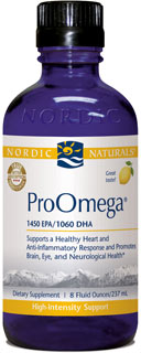 Pharmacuetical grade ProOmega liquid providing the highest levels of the omega-3 fatty acids, EPA and DHA a total of 3202 mg of omegas..