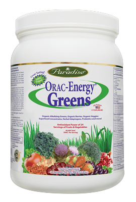Award winning ORAC-Energy Greens by Paradise Herb contains over 42 certified organic