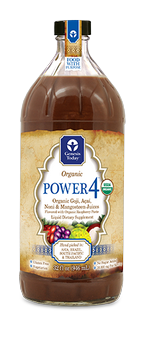 Enjoy the benefits of four popular superfruit juices in one fabulous blend! 100% Certified Organic Power4 by Genesis Today .combines Acai, Goji, Noni and Mangosteen Juices..
