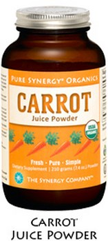 Pure Synergy Organics Carrot Juice Powder is packed with enzymes, antioxidants, phytonutrients, and vitamins and minerals. Carrot juice  fuels our core life-giving processes and supports radiant good health.  Shop Today at Seacoast.com!.