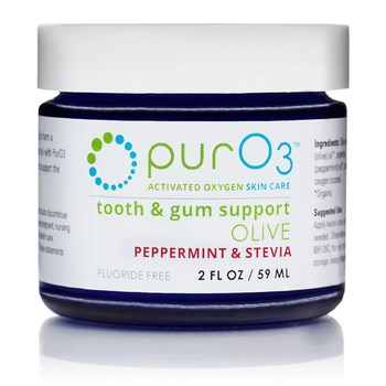 Ozonated olive oil for teeth and gums uses organic peppermint and organic stevia for improved taste. And it's fluoride free! Keep bacteria out of the gums and teeth to prevent decay and disease with Ozonated Olive Oil. Easy application..