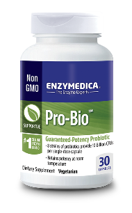 Pro-Bio contains 8 species of bacteria that naturally occur in the intestinal tract. Each capsule contains 5 billion organisms. Pro-Bio is enteric coated to bypass the acid environment of the stomach..