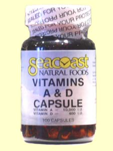 Seacoast Natural Foods Vitamin A & D contains 10,000 iu vitamin A and 400 iu vitamin D from fish oil.