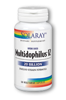 Multidolphilus 12 enteric capsules from Solaray contain 12 strains of beneficial probiotic bacteria..