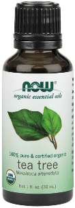 NOW® Tea Tree Oil is 100% pure, steam-distilled from the leaves of Melaleuca alternifolia, and mixes well with many other essential oils..