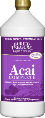 Acai Complete Buried Treasure is a tasty blend of powerful antioxidant rich super foods, Acai, Goji, Pomegranate and UtraBerry..