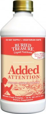 Buried Treasure Liquid Nutrients has developed Added Attention to help children increase their ability to learn and develop mental focus in a positive and natural way..