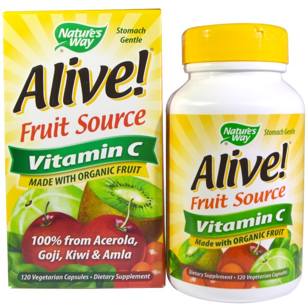 Alive! Vitamin C capsules from Nature's Way made with USDA Certified Organic Fruit..