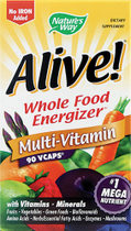 Nature's Way Alive! Whole Food Multivitamin is a supplement made from whole foods in a vegetarian capsule..
