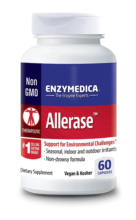 Allerase when taken on an empty stomach may assist in alleviating the common symptoms of seasonal and airborne allergies. Allerase may also help reduce sugar cravings. Kosher & Vegan.
