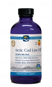 100% Arctic Cod Liver Oil 8 oz Orange Flavor | Nordic Naturals | Non-GMO. Perfect for those who don't like to swallow pills..