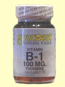 Vitamin B1 100 mg also known as Thiamine from SeaCoast Natural Foods is an essential vitamin which aids in healthy circulation and blood formation and also enables the body to metabolize carbohydrates..
