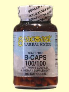 Seacoast Vitamin B-Complex, 100 mg, 100 Yeast-Free Capsules.