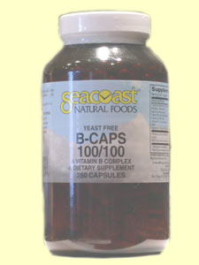 Seacoast Vitamins B-Complex, 100 mg, 250 Yeast-Free Capsules.