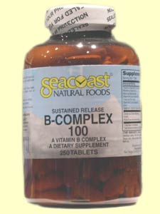 Seacoast Vitamins B-Complex, 100 mg, 250 Time Release Tablets.