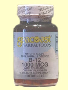 Seacoast Vitamin B12, 1000 mcg, 180 Cherry Flavored Sublingual Lozenges.