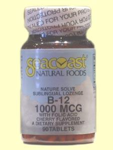 Seacoast Vitamin B12 1,000 mcg Cherry Flavored, 90 Sublingual Lozenges.