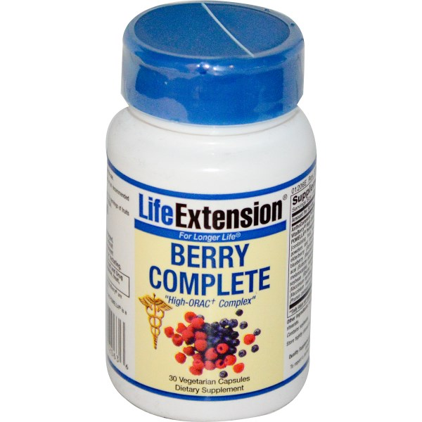 Berry Complete from Life Extension features a wide variety of antioxidant-rich standardized extracts from berries, vegetables, and legumes..