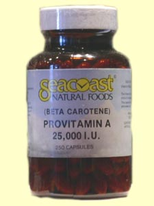 Seacoast Natural Foods Beta Carotene 25,000 IU is made off gelatin, glycerin and water only and is suspended in soybean oil..