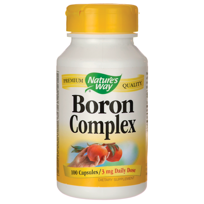 Nature's Way Boron Chelate 3mg helps to prevent the loss of calcium, phosphorus and magnesium through the urine. It also helps maintain proper blood levels of estradiol which is a precursor of estrogen..