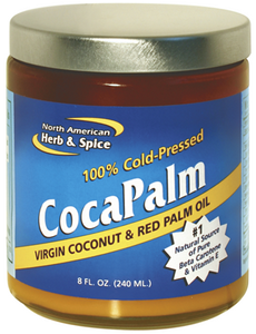 Red palm oil, plus cold-pressed virgin coconut oil, praised as the #1 natural food of Beta Carotene and Vitamin E. Red Palm may be used for cooking or applied topically to nourish skin..