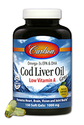 Carlson Cod Liver Oil with Low Vitamin A contains approximately 300% more Cod Liver Oil than other Cod Liver Oil soft gels. Lemon Flavor. Gluten and Preservative Free..