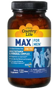Max For Men Multiple Vitamin and Mineral Complex is a gluten free formula that supports energy metabolism and also magnesium for heart health along with saw palmetto and lycopene for prostate health..